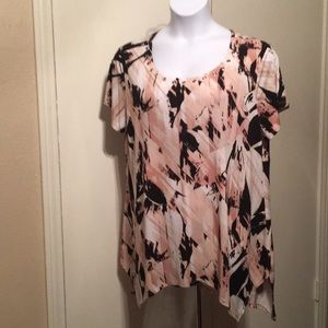 Cato 18-20 black and pink abstract tunic